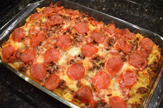 Pepperoni Pizza Casserole  Pepperoni Pizza Casserole