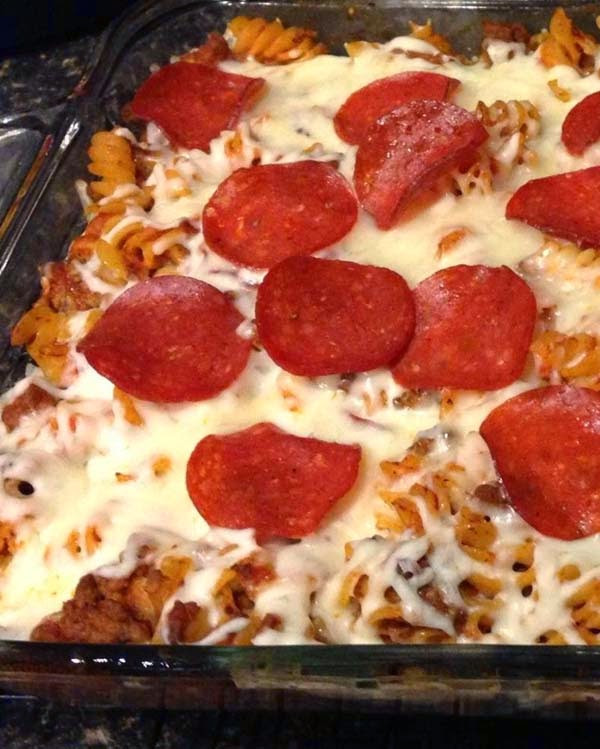Pepperoni Pizza Casserole  Turkey Pepperoni Pizza Casserole Food Fun and Happiness