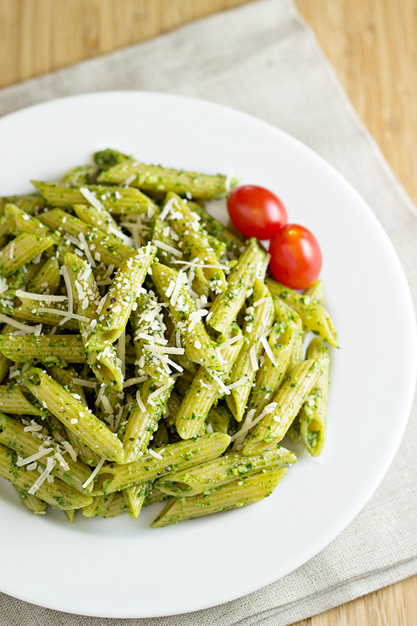 Pesto Sauce Pasta  Pasta with Spinach Basil Pesto Recipe Home Cooking Memories