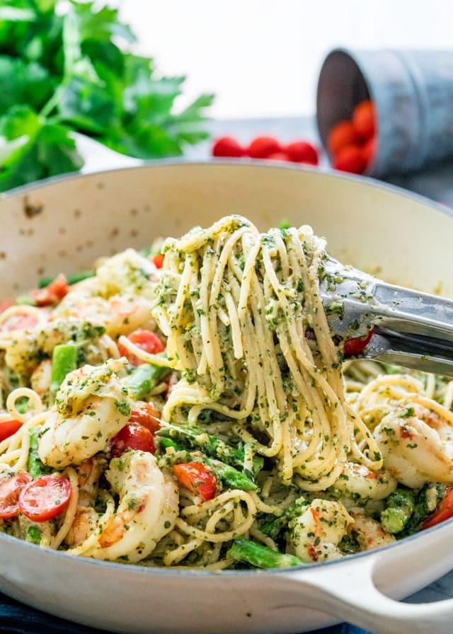 Pesto Shrimp Pasta  Pesto Shrimp Asparagus Pasta Jo Cooks