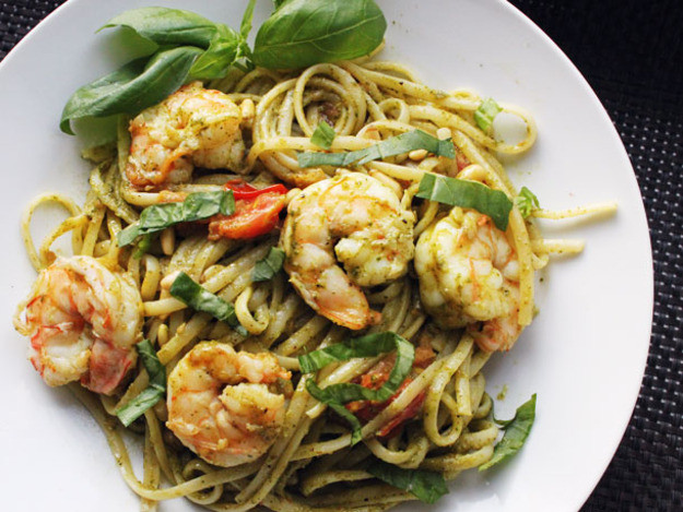 Pesto Shrimp Pasta  Skillet Suppers Pesto Pasta with Shrimp and Pine Nuts