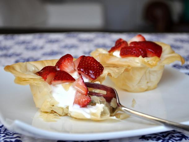 Phyllo Dough Dessert Recipes  Greek Yogurt and Strawberry Phyllo Cups Recipe