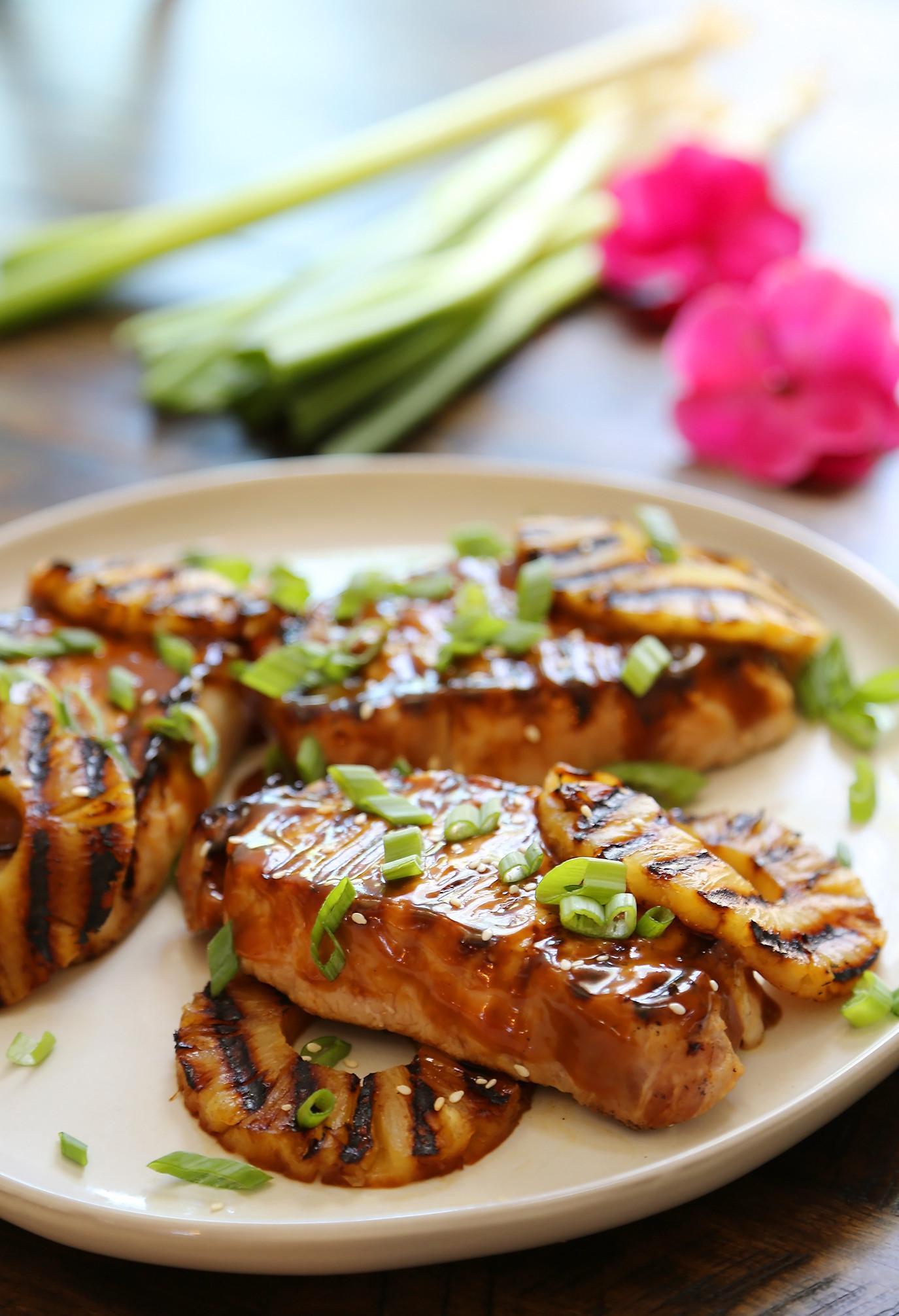 Pineapple Pork Chops  Grilled Hawaiian Pineapple Pork Chops