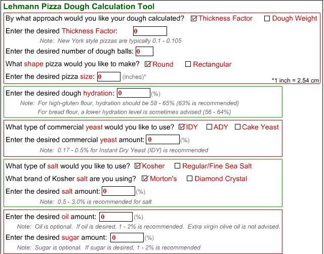 Pizza Dough Calculator  Lehmann Pizza Dough Calculator
