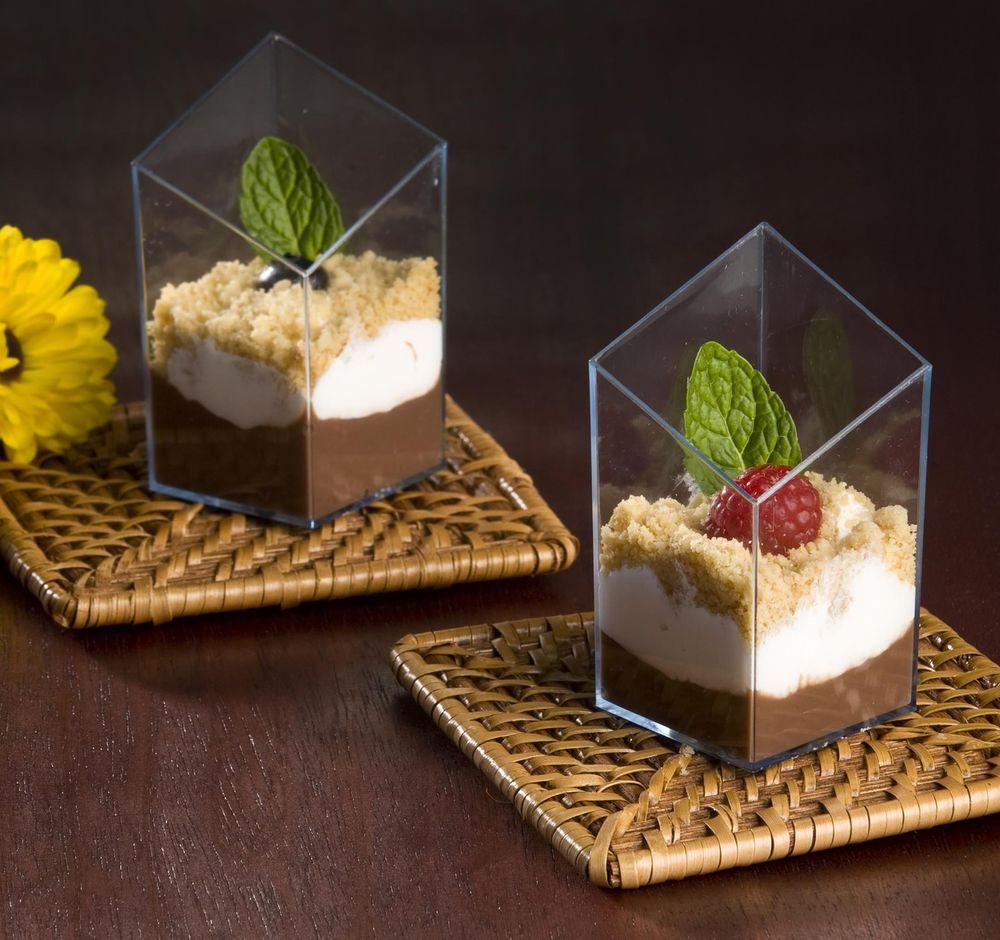 Plastic Dessert Cups  2 5 oz Diamond Cube Plastic Mini Shot Glass Dessert Cup