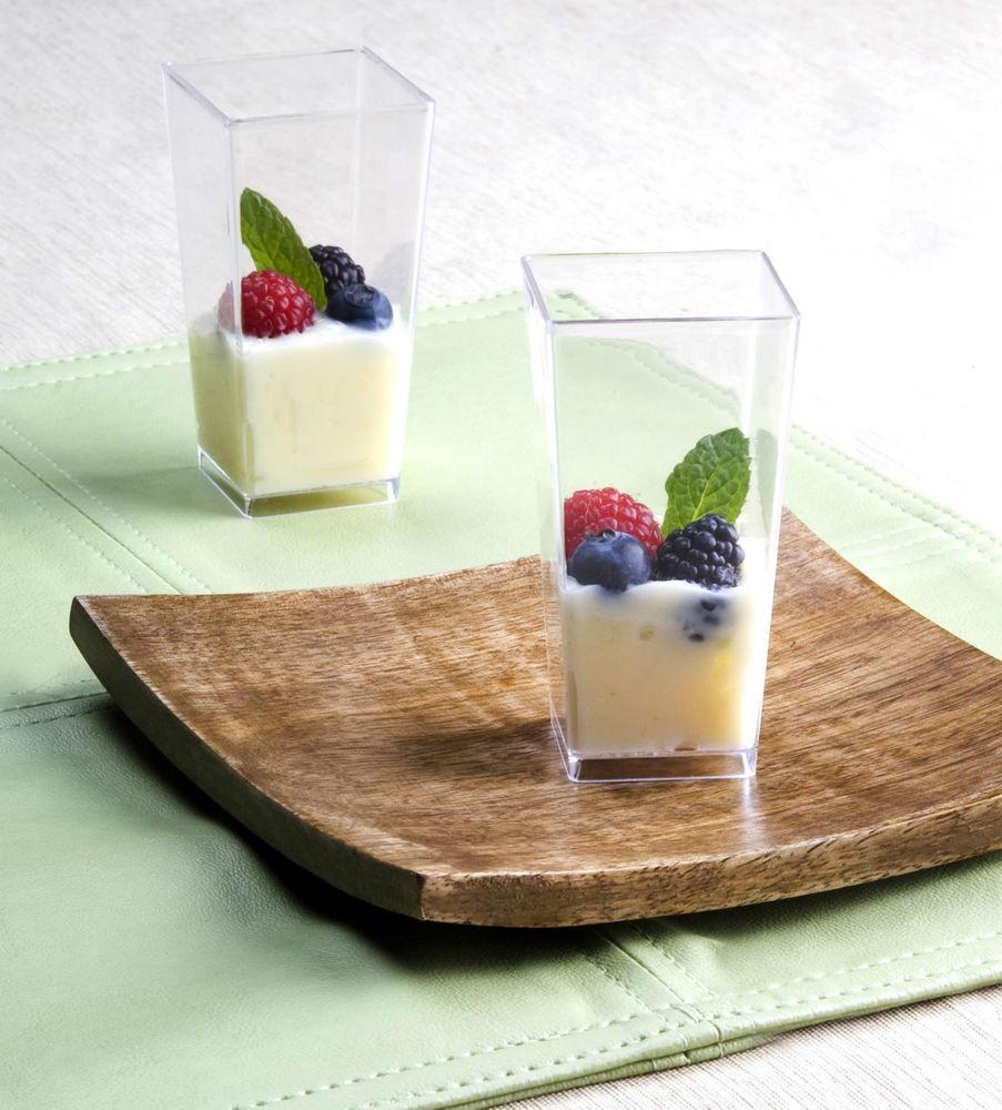 Plastic Dessert Cups  3 oz Square Tall Cube Plastic Mini Shot Glass Dessert