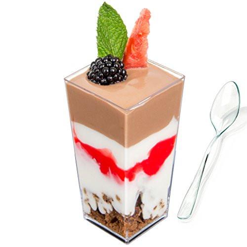 Plastic Dessert Cups  DLux Mini Dessert Cups Appetizer Bowls & Spoons with