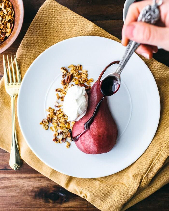 Poached Pears Desserts  Poached Pears with Pecan Granola and Whipped Cream