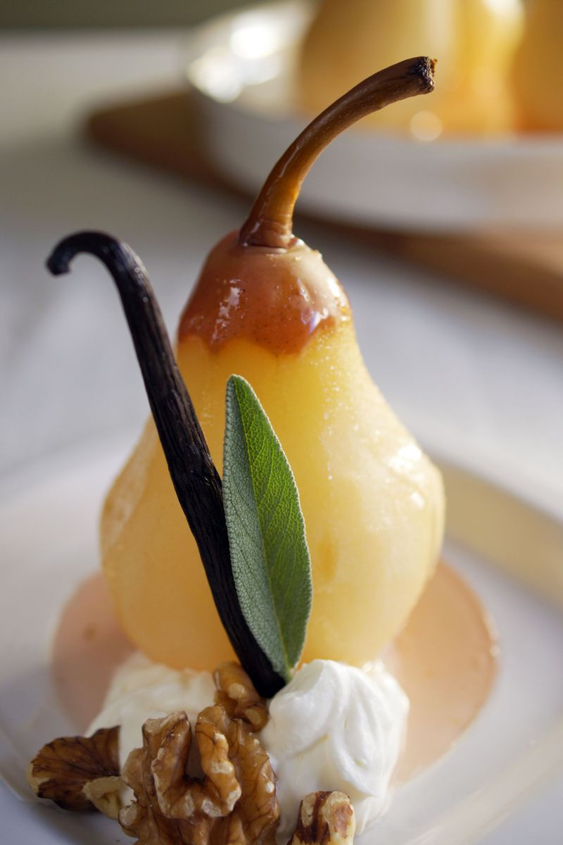 Poached Pears Desserts  Treat of the Week Poached Pears in Vanilla Sage Wine