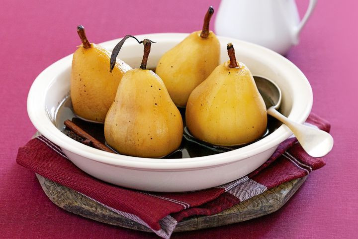 Poached Pears Desserts  Poached pears in spiced brown sugar syrup