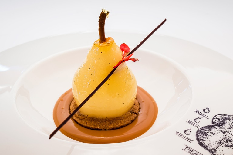 Poached Pears Desserts  Poached Pear with Cinnamon Biscuit Recipe Great British
