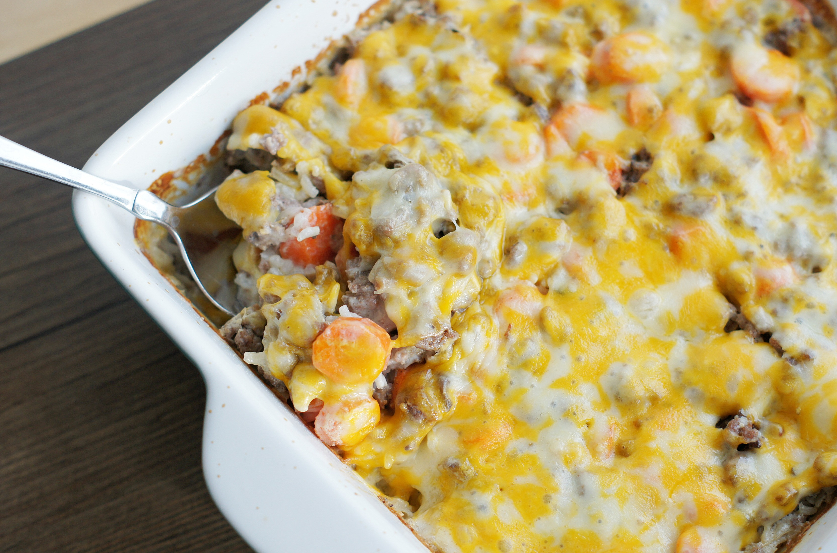 Pork And Rice Casserole  Cheesy Ground Beef and Rice Casserole 5 Boys Baker