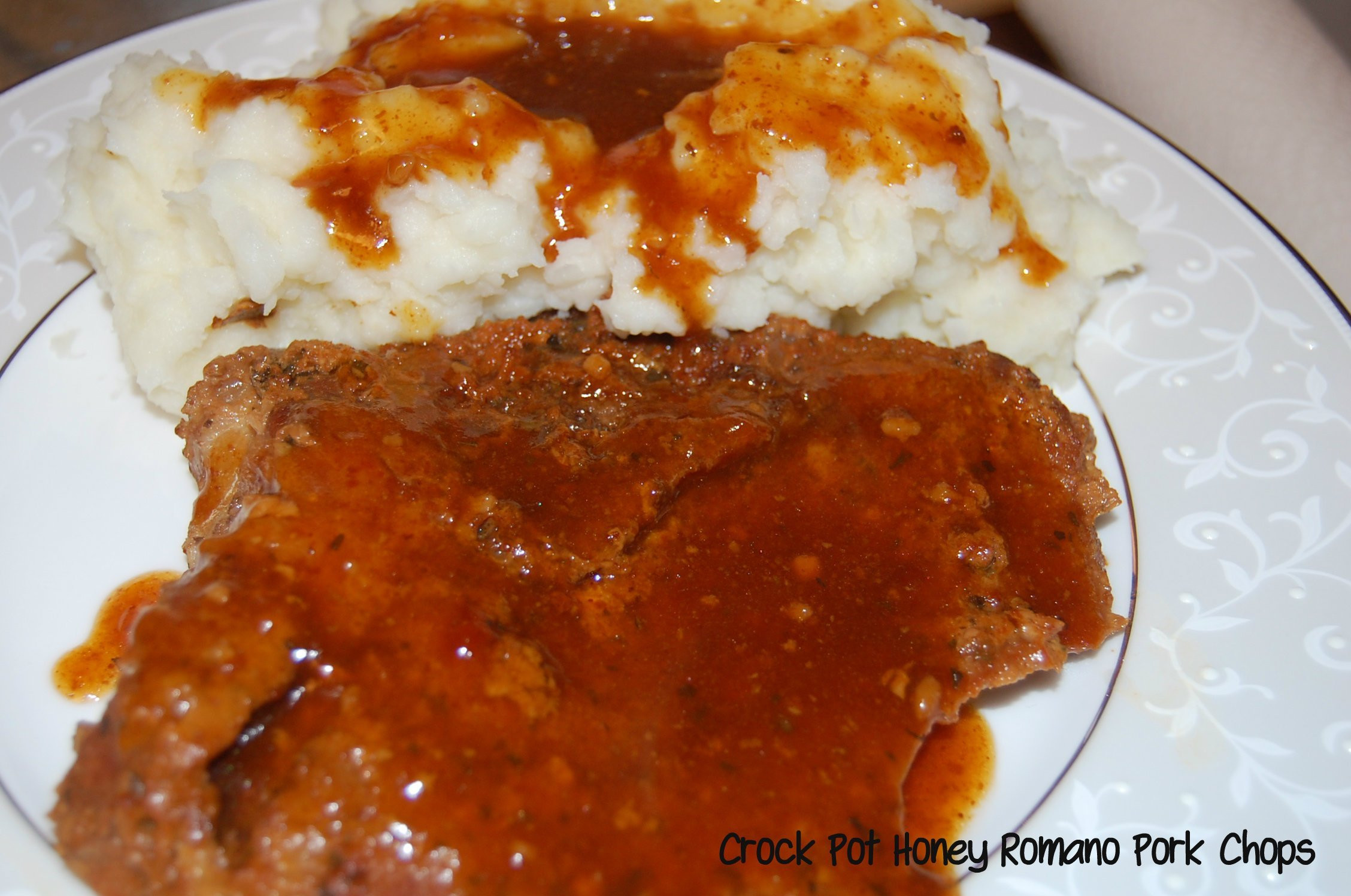 Pork Chops In The Crockpot  Crock Pot Honey Romano Pork Chops Who Needs A Cape