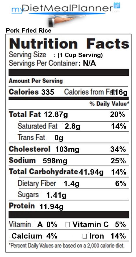 Pork Fried Rice Calories  Nutrition facts Label Pasta Rice & Noodles 10