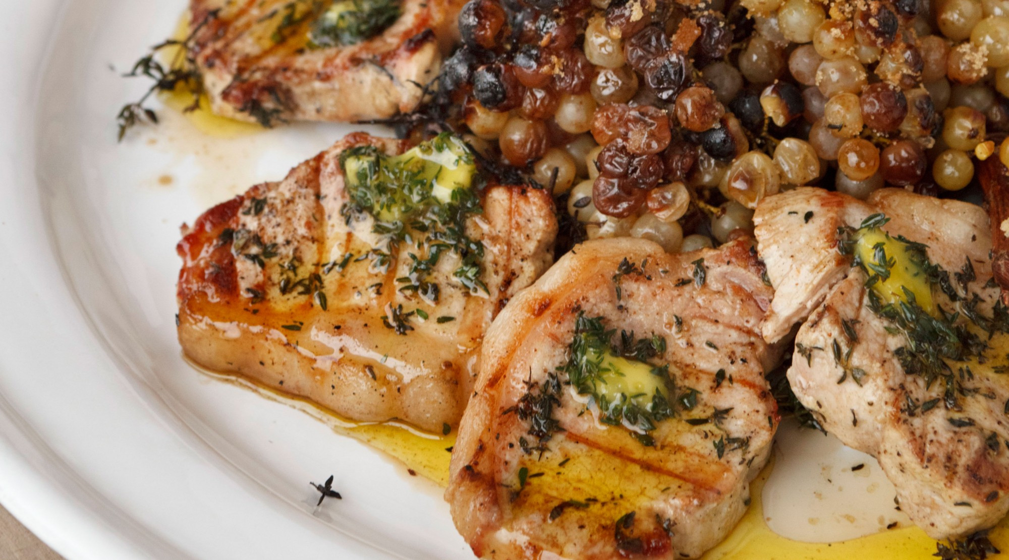 Pork Loin Chops Recipes  Pork Loin Chops with Thyme Oil and Roasted Grapes on the