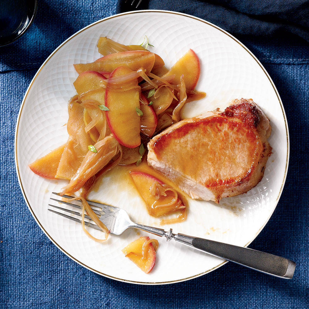 Pork Loin Chops Recipes  Pork Loin Chops with Apple and Shallot Recipe