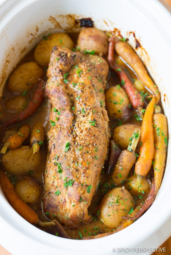 Pork Loin Roast Recipe Slow Cooker With Vegetables  Crock Pot Pork Loin with Ve ables A Spicy Perspective