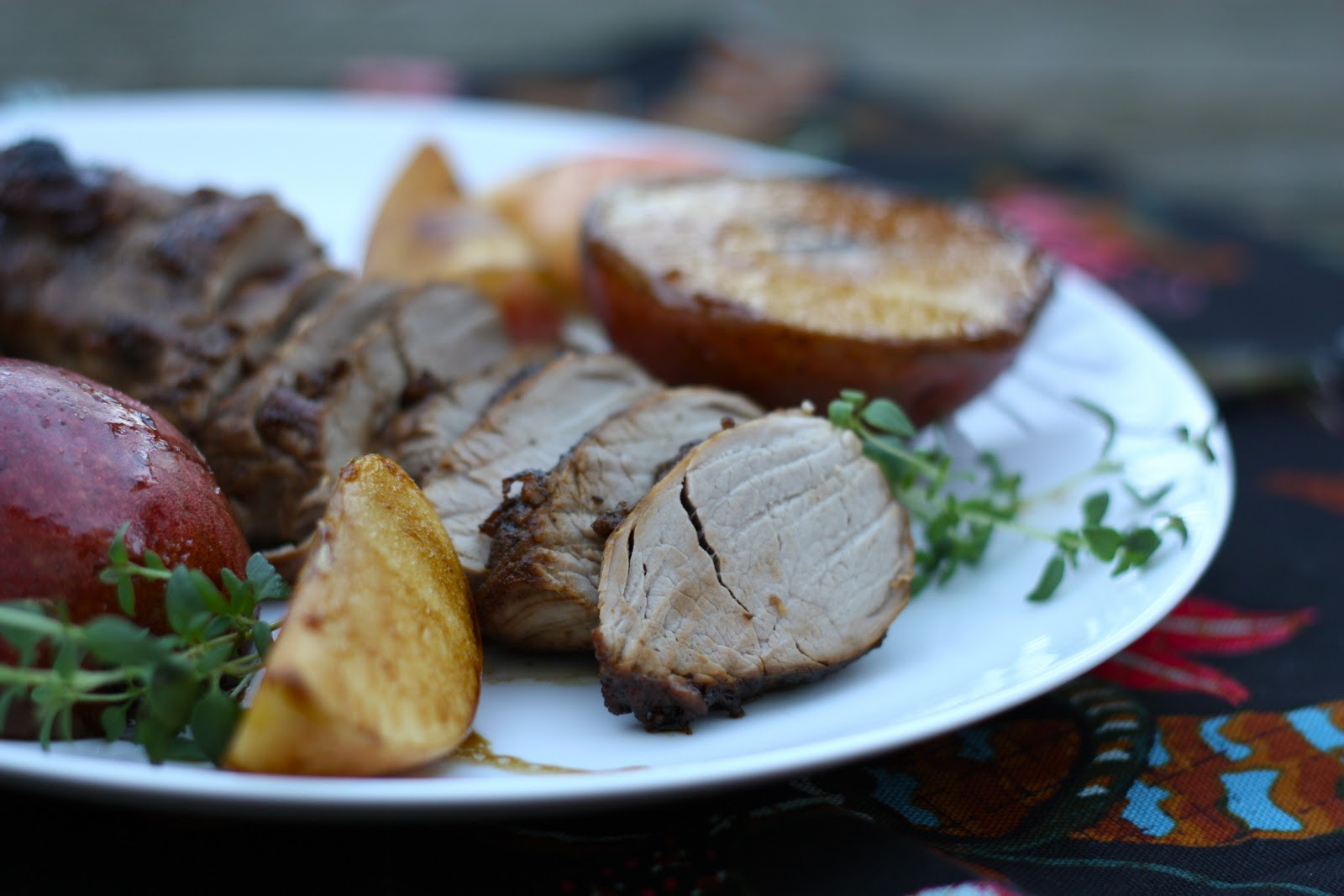 Pork Loin With Apples  eats and beats Menu Roasted Pork Loin with Apples and Pears