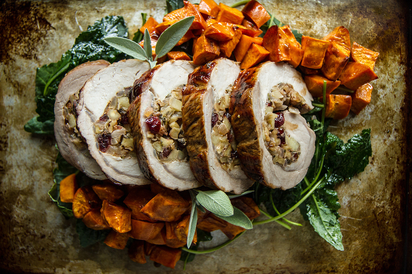 Pork Loin With Apples  Cider Glazed Pork Loin with Apple Walnut stuffing