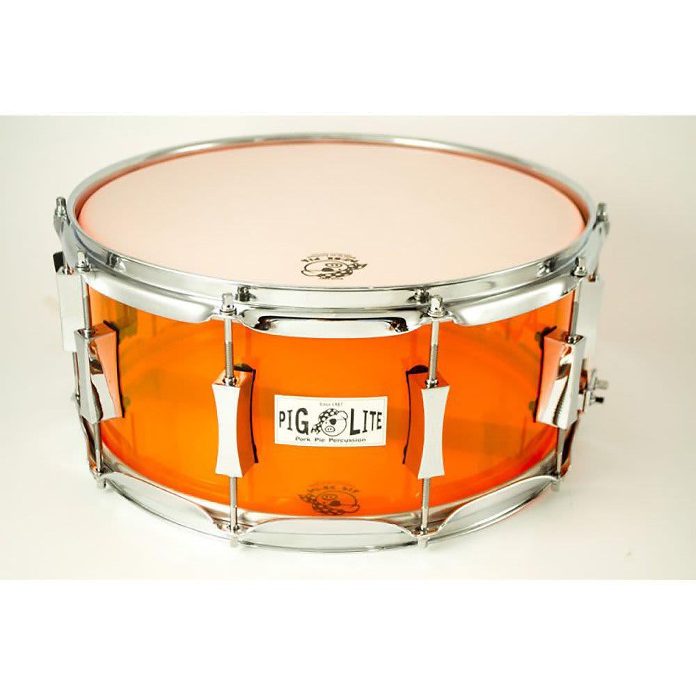 "Pork Pie Snare  Pork Pie 6 5X14"" Pig Lite Acrylic Snare Neon Orange"