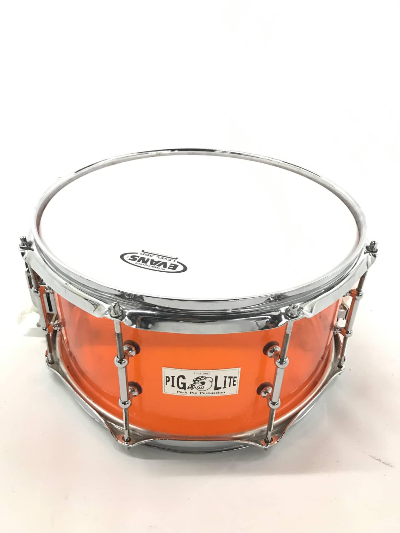 """Pork Pie Snare  Pork Pie Piglite Amber Acrylic Snare Drum 7""""x13"""""""