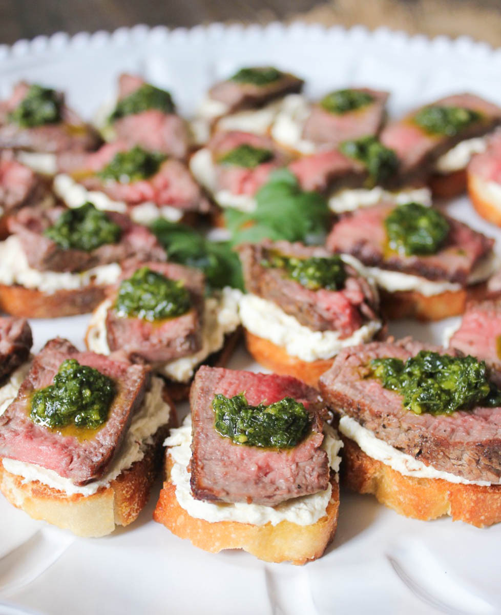 Pork Tenderloin Appetizers  Beef Tenderloin Crostini with Whipped Goat Cheese and