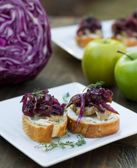 Pork Tenderloin Appetizers  Pork Tenderloin Crostini with Sweet and Sour Red Cabbage
