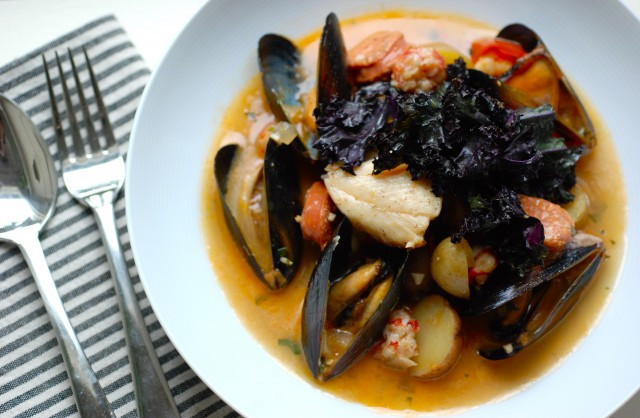 Portuguese Seafood Stew  Portuguese Seafood Stew with Sablefish and Purple Kale