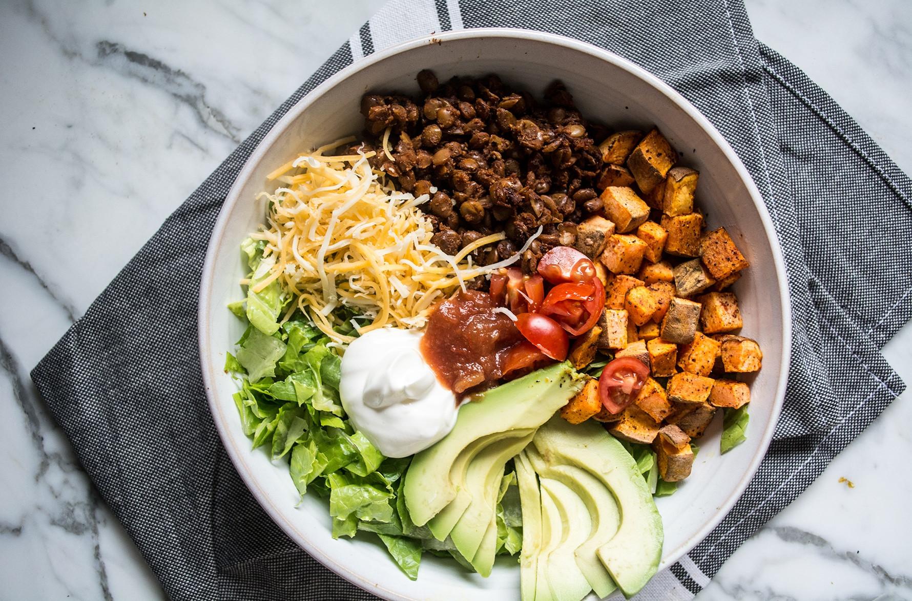 Potato Bowl 2018  Easy Lentil and Roasted Sweet Potato Taco Bowl
