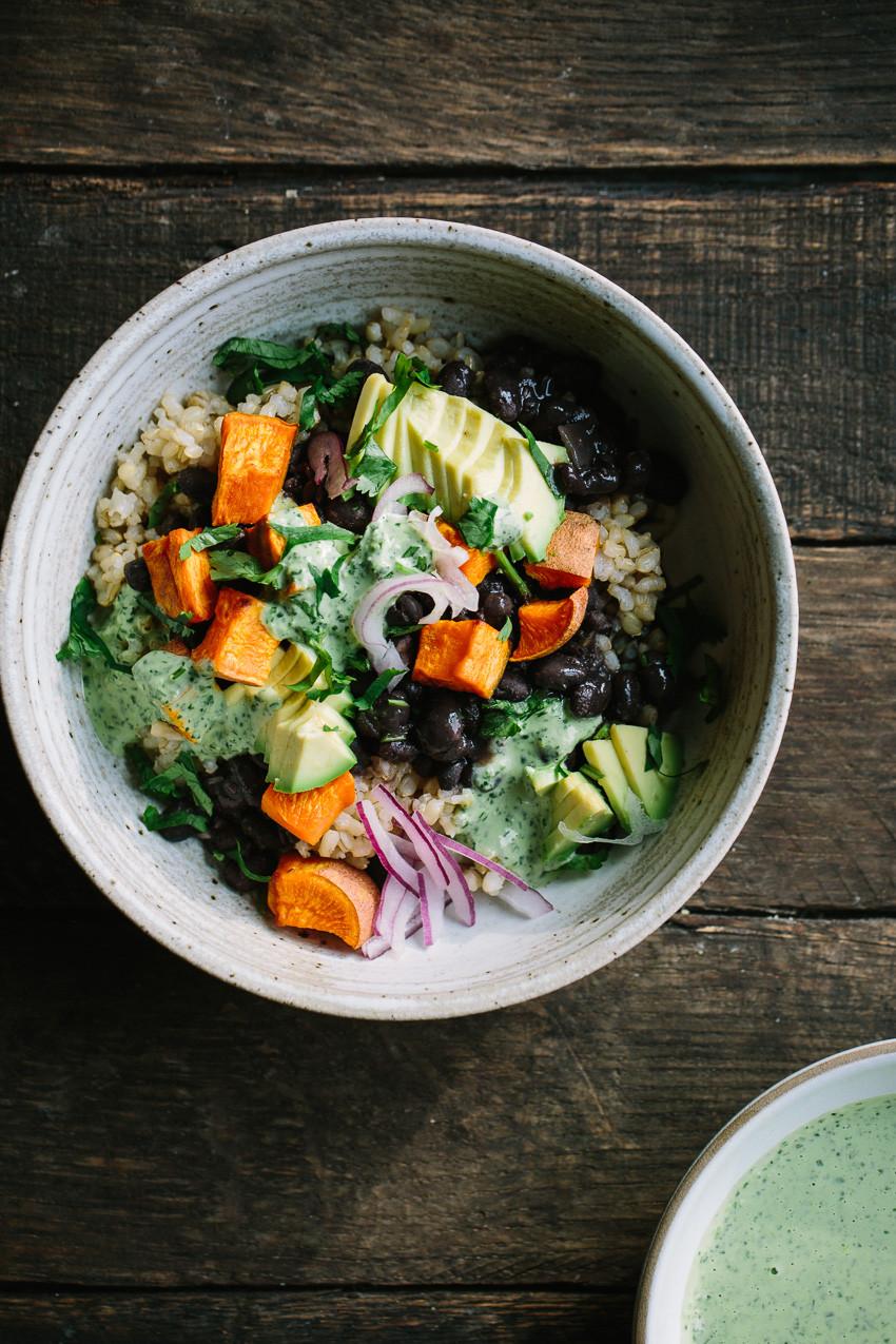 Potato Bowl 2018  Black Bean Sweet Potato Grain Bowls with Herbed Tahini