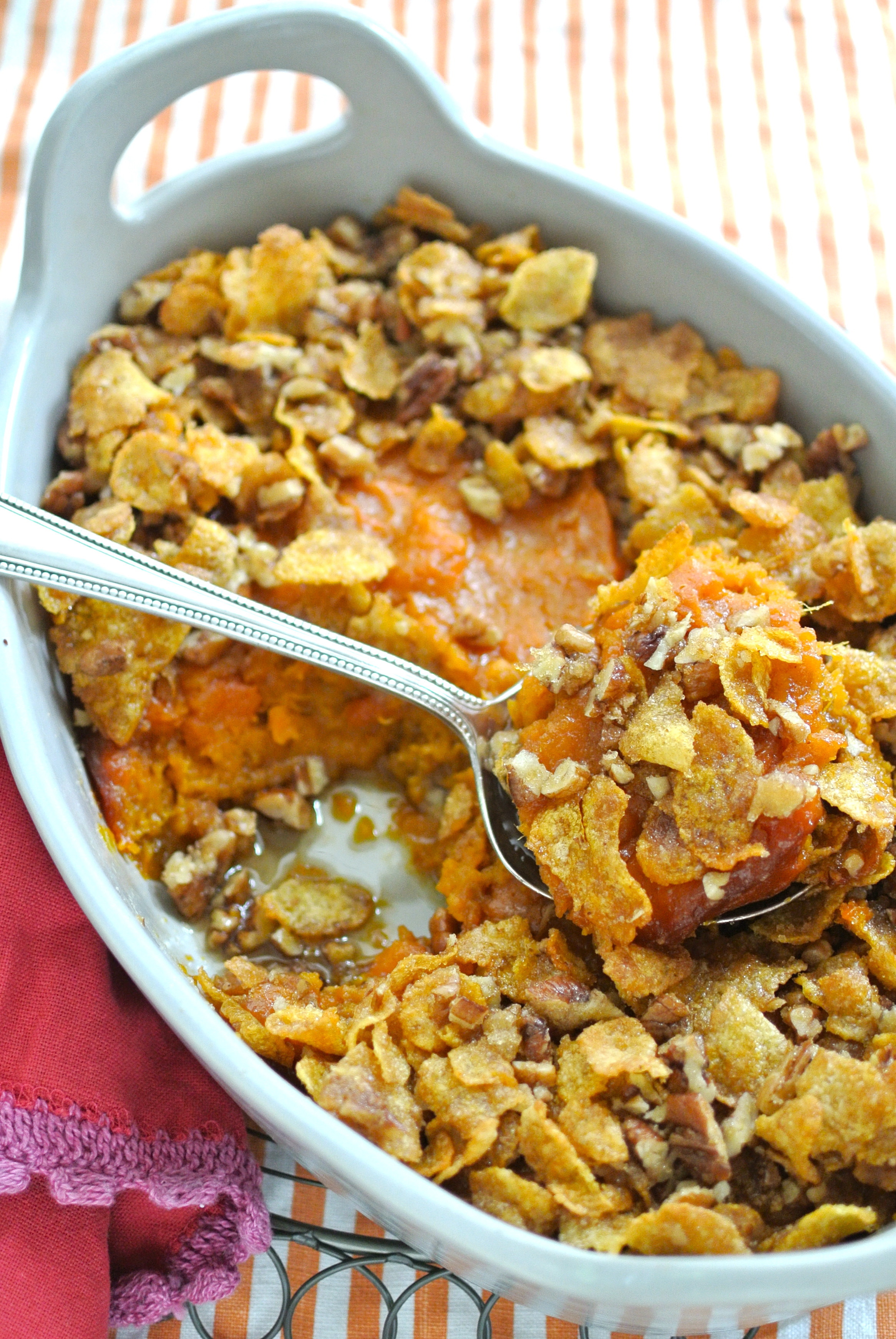 Potato Casserole With Corn Flakes  Sweet Potato Casserole with Crunchy Corn Flake Topping
