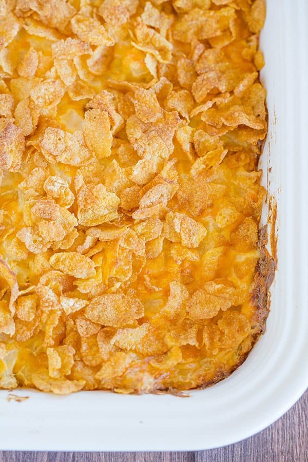 Potato Casserole With Corn Flakes  Cheesy Potato Casserole with Corn Flake Topping