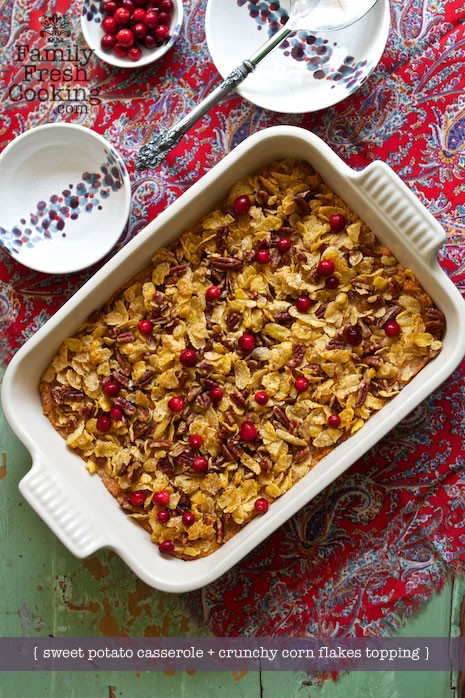 Potato Casserole With Corn Flakes  Sweet Potato Casserole with Crispy Corn Flakes Topping