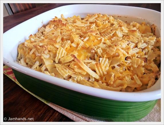 Potato Chip Casserole  Jam Hands Cheesy Tuna Casserole with Crumbled Potato Chips