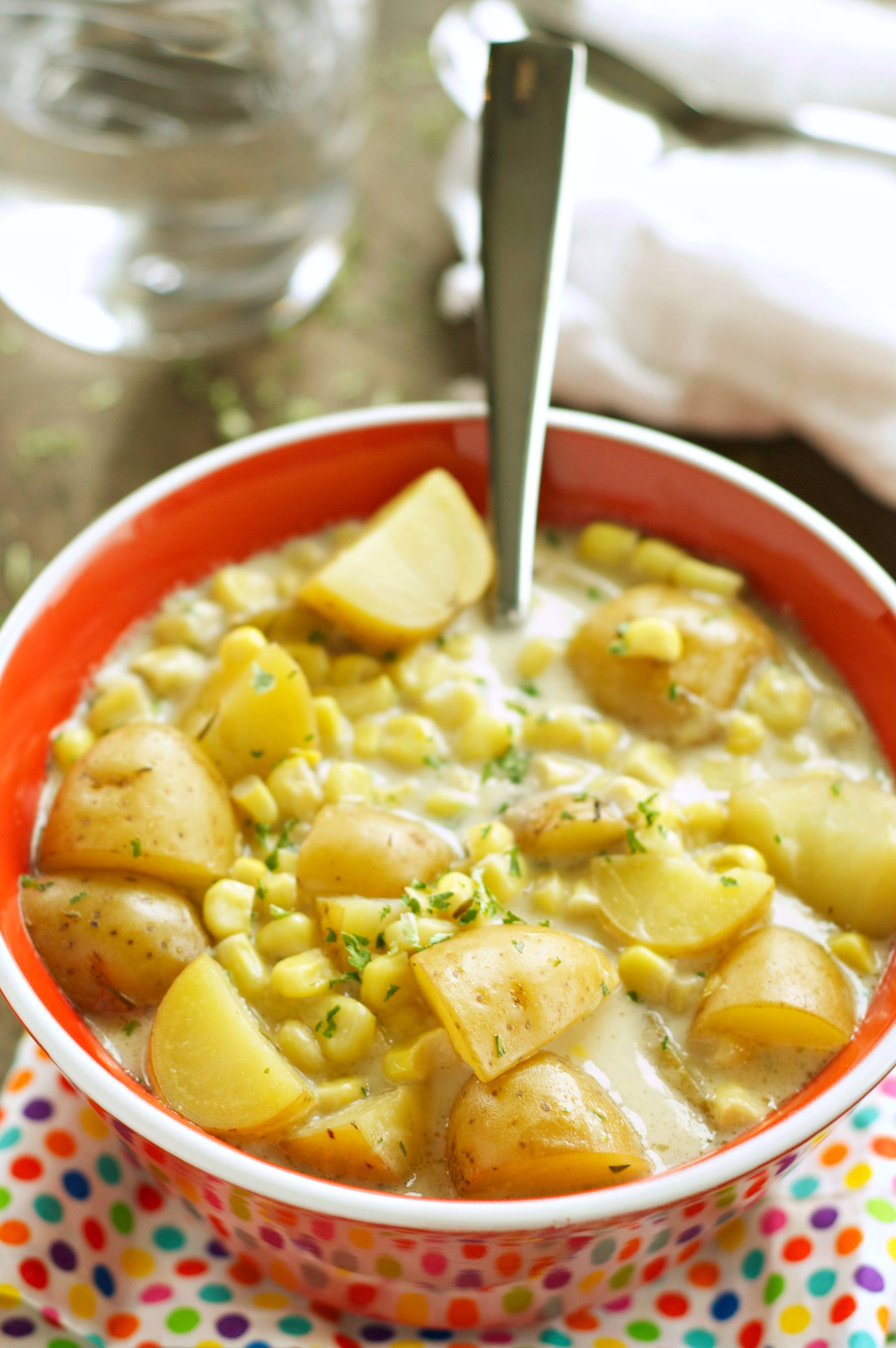Potato Corn Chowder  Slow Cooker Corn and Potato Chowder