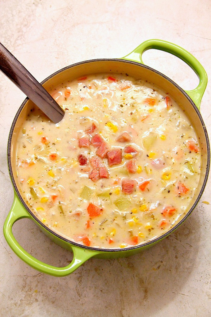 Potato Corn Chowder  Ham Potato and Corn Chowder Recipe Crunchy Creamy Sweet