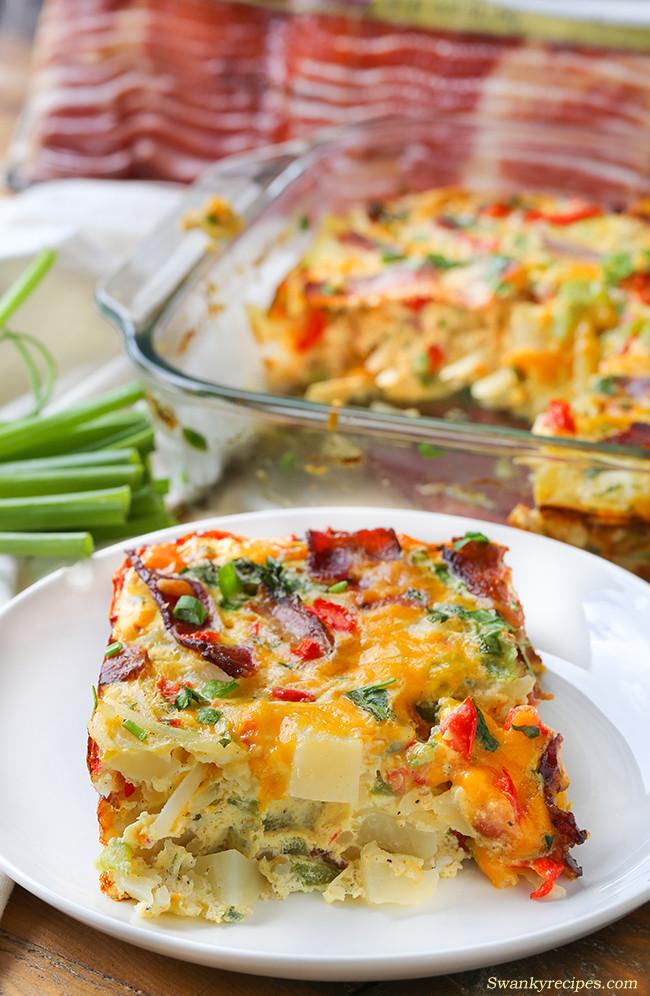 Potato Egg Casserole  Cheesy Bacon Potato and Egg Casserole Swanky Recipes