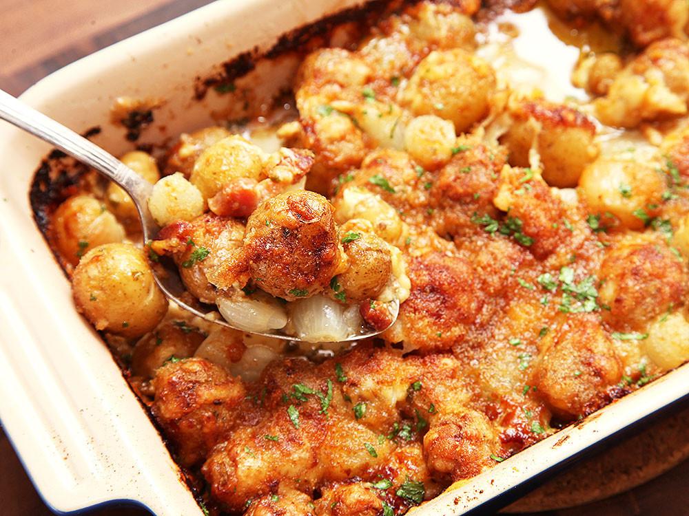 Potato Gratin Recipe  Cheesy ion Bacon and New Potato Gratin Recipe