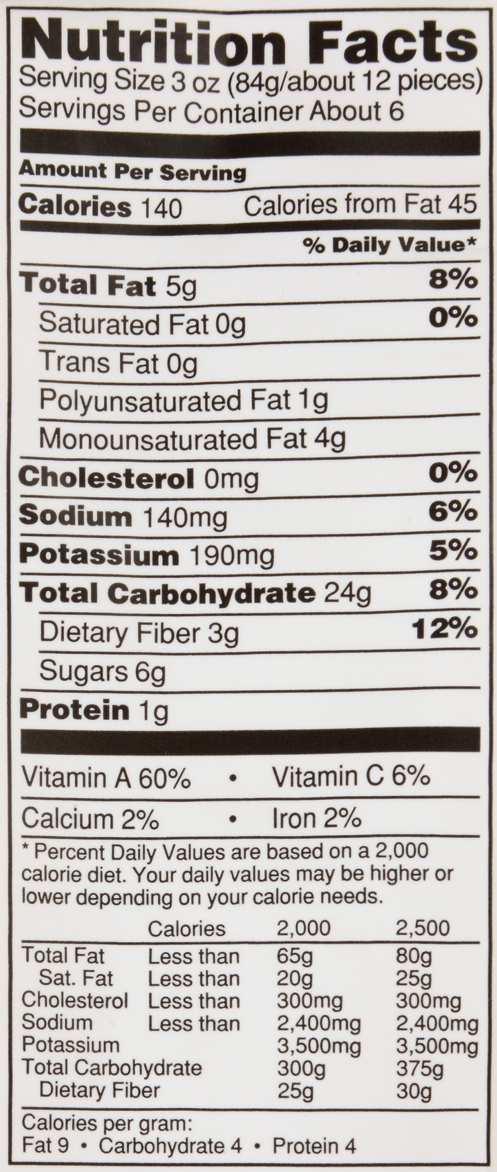 Potato Nutrition Information  alexia sweet potato fries nutrition label