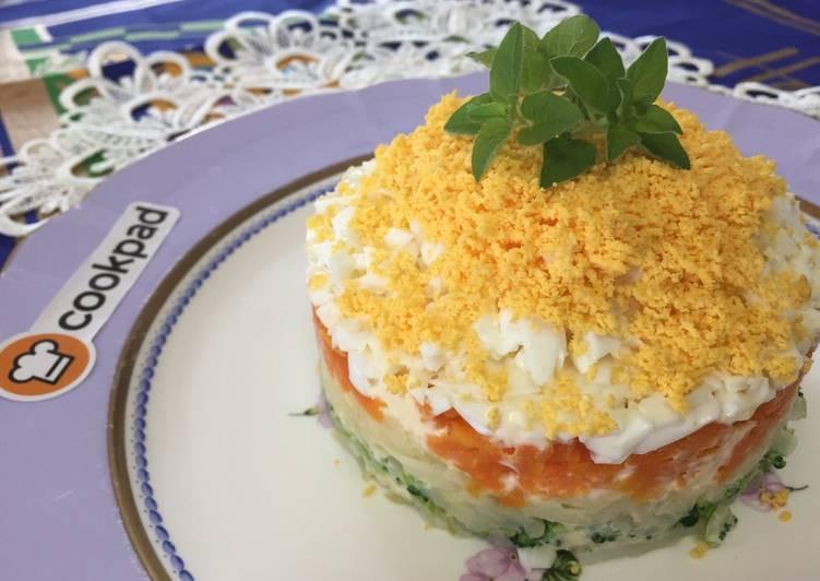 Potato Salad Cake  Potato Salad Cake Recipe by Aunty Eiko s international