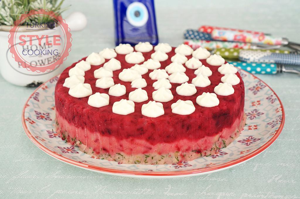 Potato Salad Cake  Potato Salad Cake With Beet Recipe Turkish Style Cooking