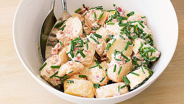 Potato Salad With Sour Cream  Potato salad with bacon and sour cream 9Kitchen