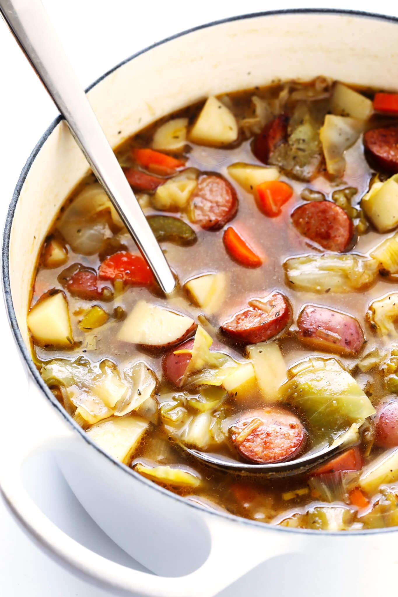 Potato Sausage Soup  Cabbage Sausage and Potato Soup