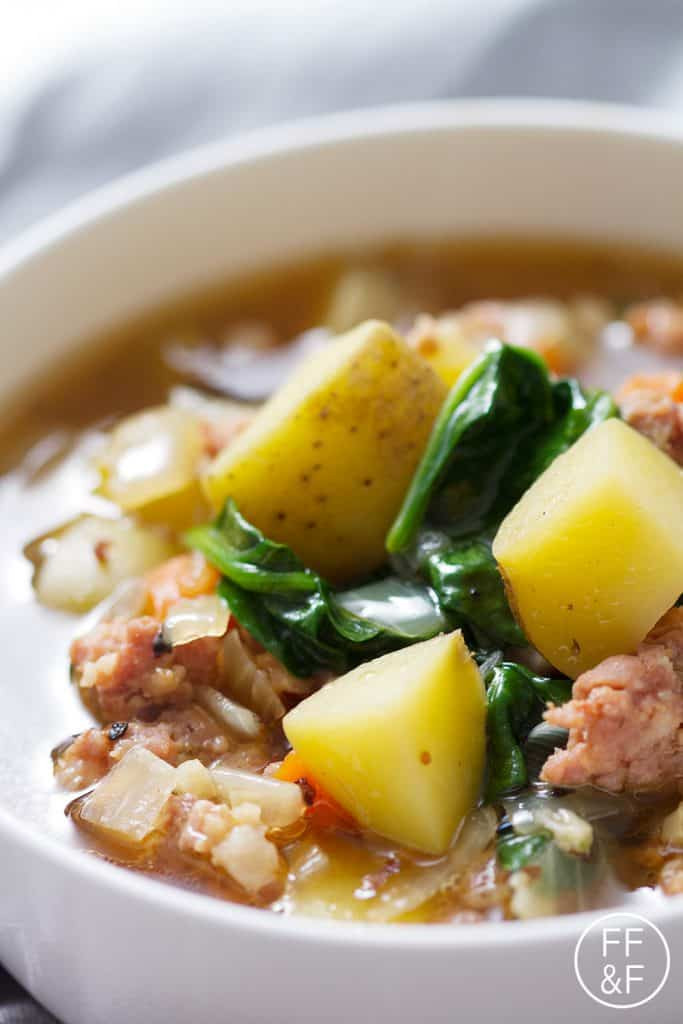 Potato Sausage Soup  spinach potato sausage soup