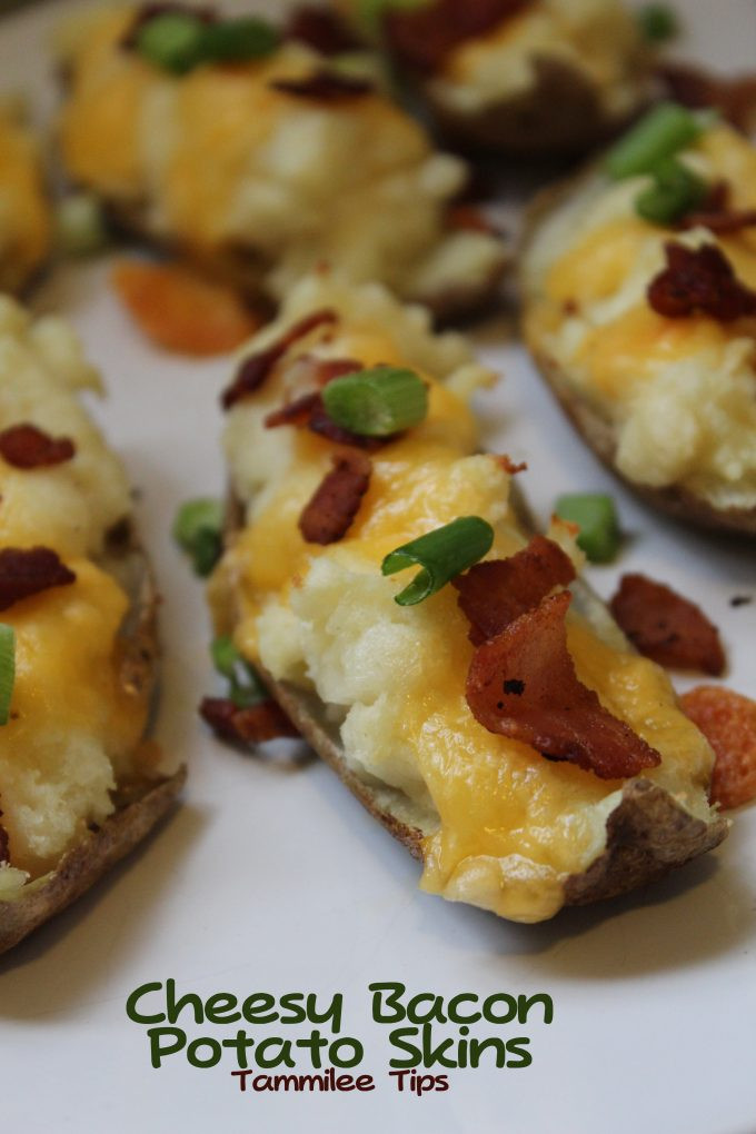 Potato Skin Recipes  Cheesy Bacon Potato Skins Recipe Tammilee Tips