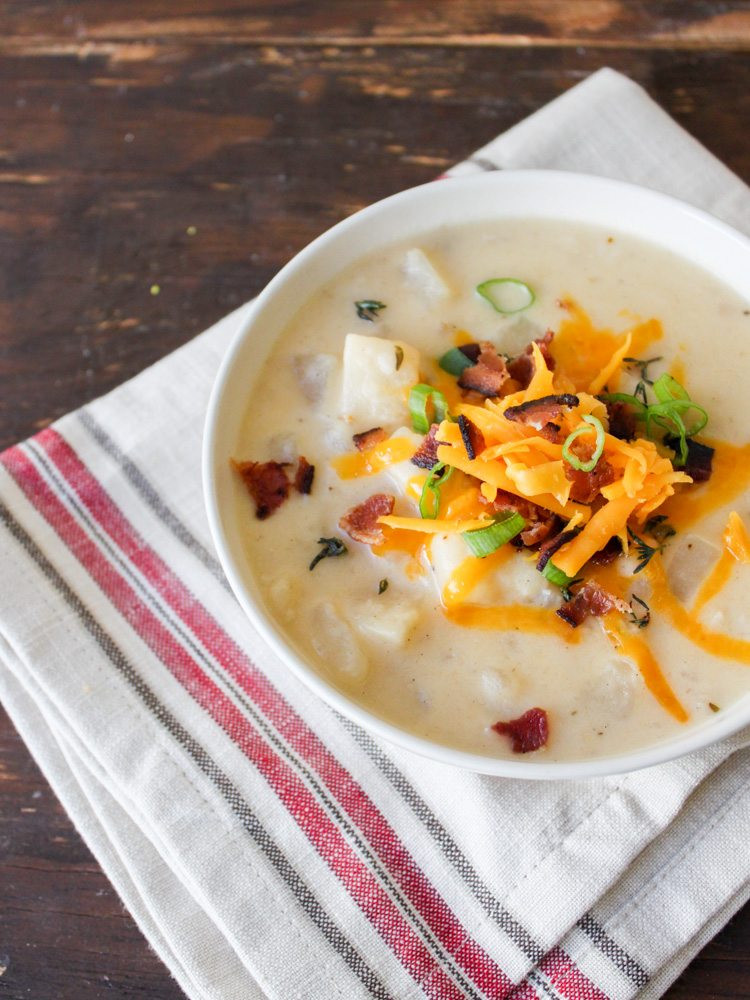 Potato Soup Slow Cooker  Slow Cooker Loaded Baked Potato Soup The Chic Site