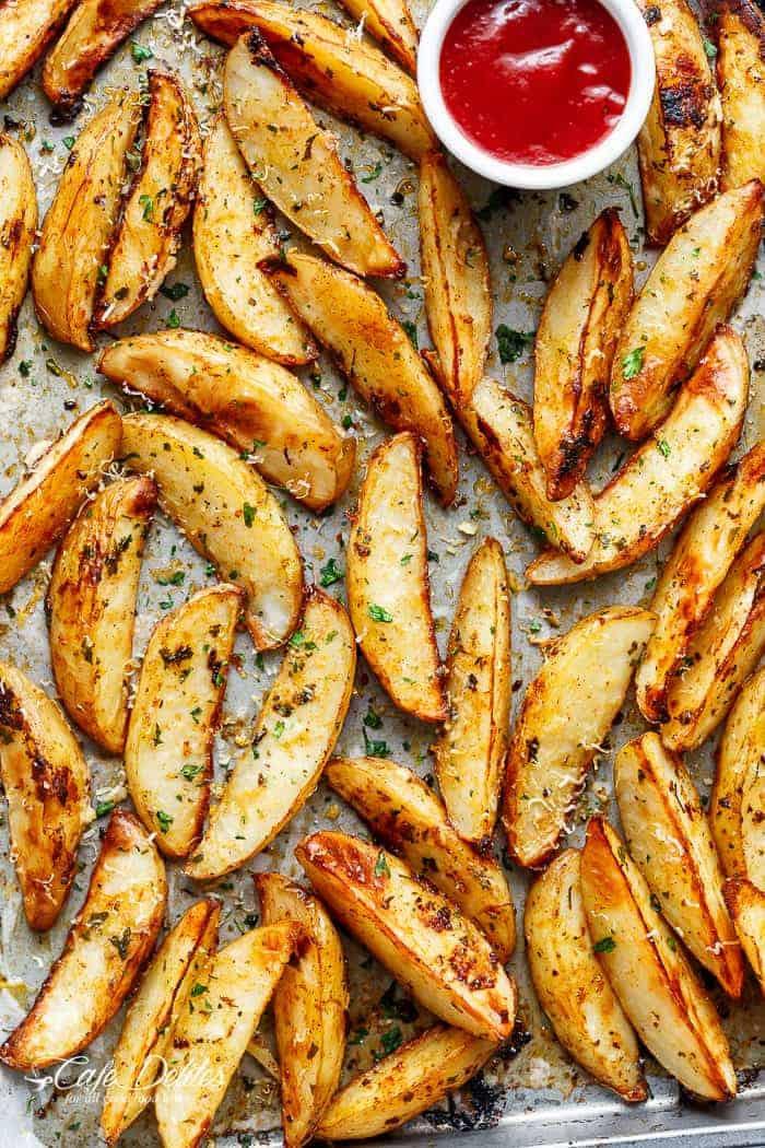 Potato Wedge Recipe  Crispy Garlic Baked Potato Wedges Cafe Delites