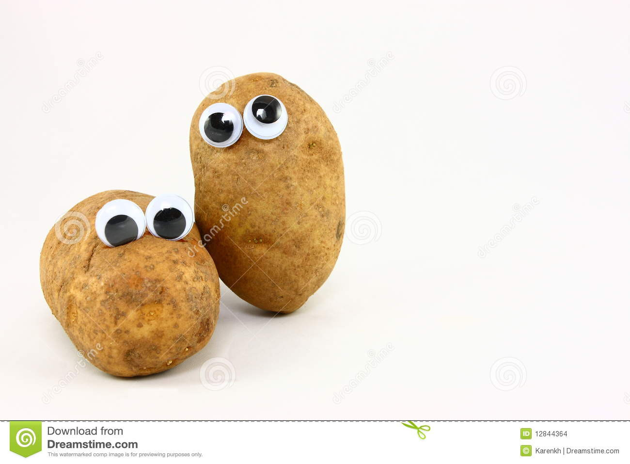 Potato With Eyes  Two Potato Friends With Wiggly Eyes Stock Image
