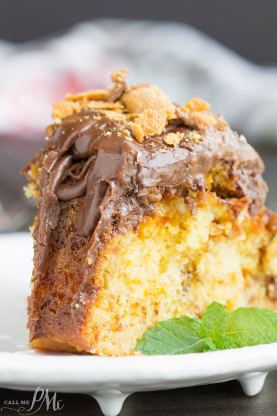 Pound Cake From Cake Mix  Cake Mix Butterfinger Pound Cake with Chocolate Ganache