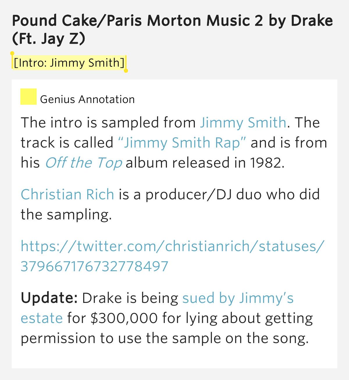 Pound Cake Lyrics  [Intro Jimmy Smith] – Pound Cake Paris Morton Music 2 by